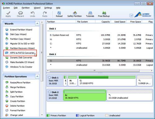 Convertire da NTFS a FAT32