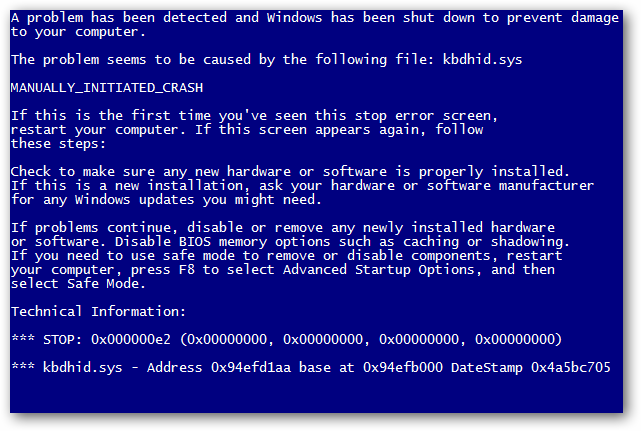 Risultati immagini per Blue Screen Of Death