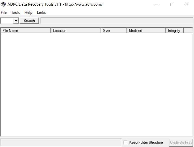 Interfaccia principale di ADRC Data Recovery Tools